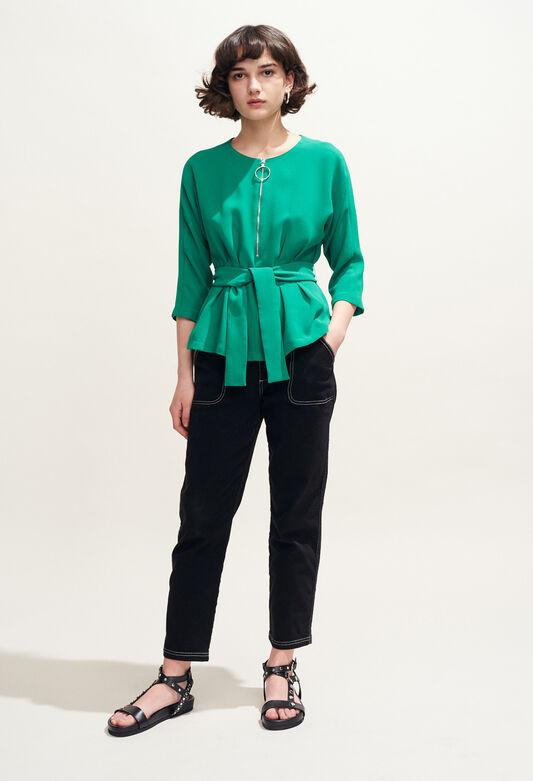 BAVIERE : Top y Camisas color VERT VEGETAL