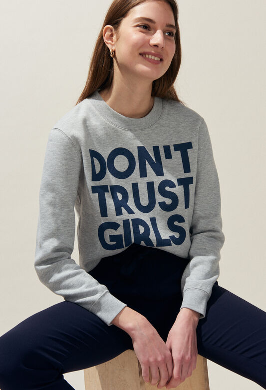 TRUST : Maille & Sweatshirts couleur GRIS CHINE