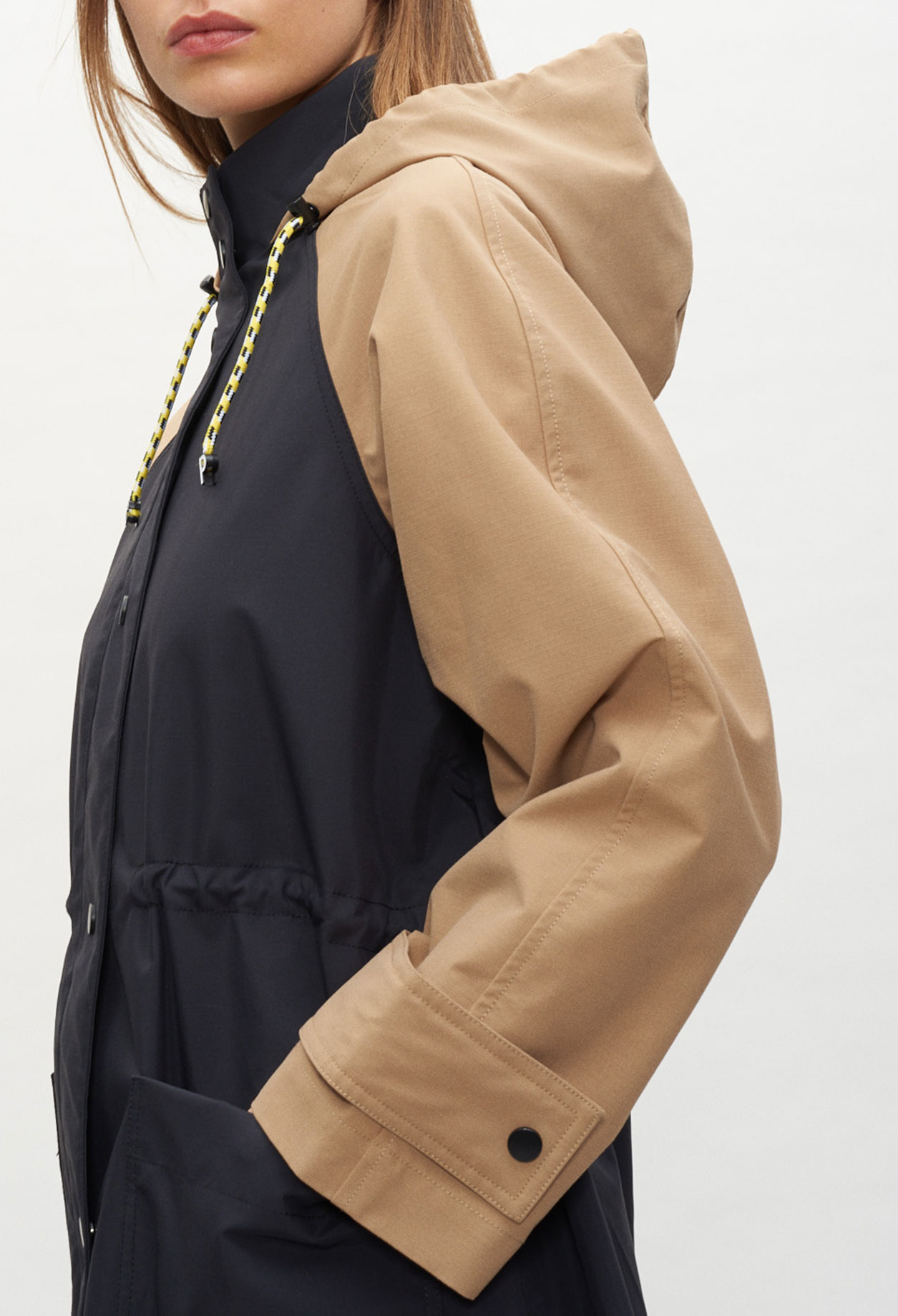 Manteau long bicolore